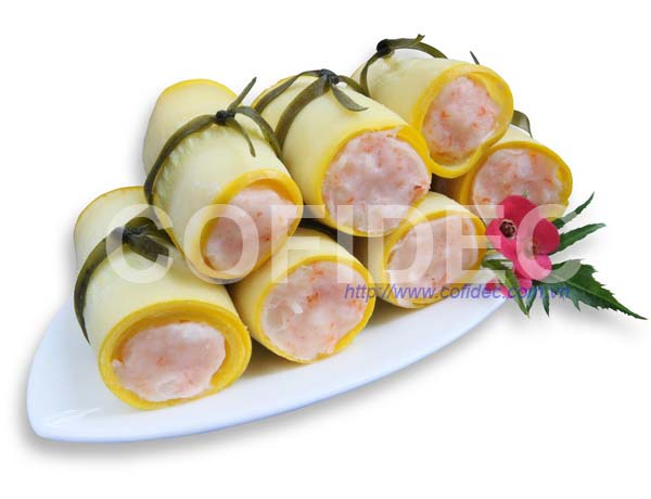 Yellow Zucchini rolled with Shrimp paste