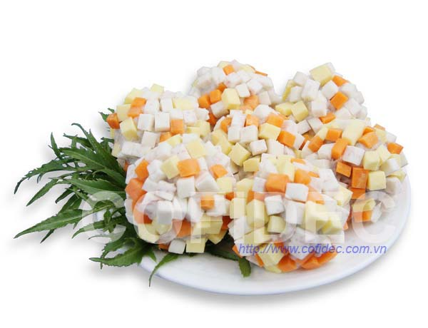 Shrimp ball with Vegetable Dice cut
