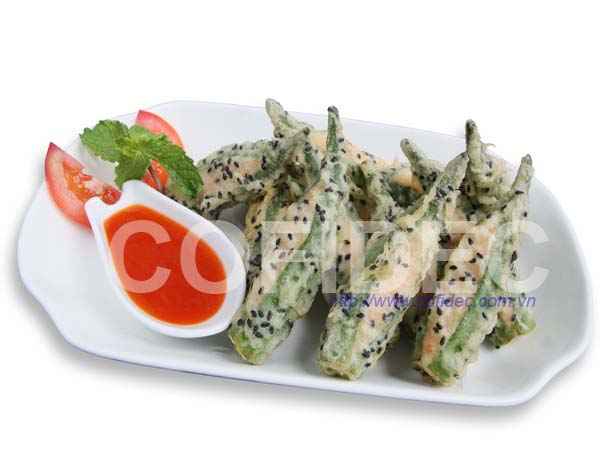 Okura with Shrimp paste Tempura - Black Sesame